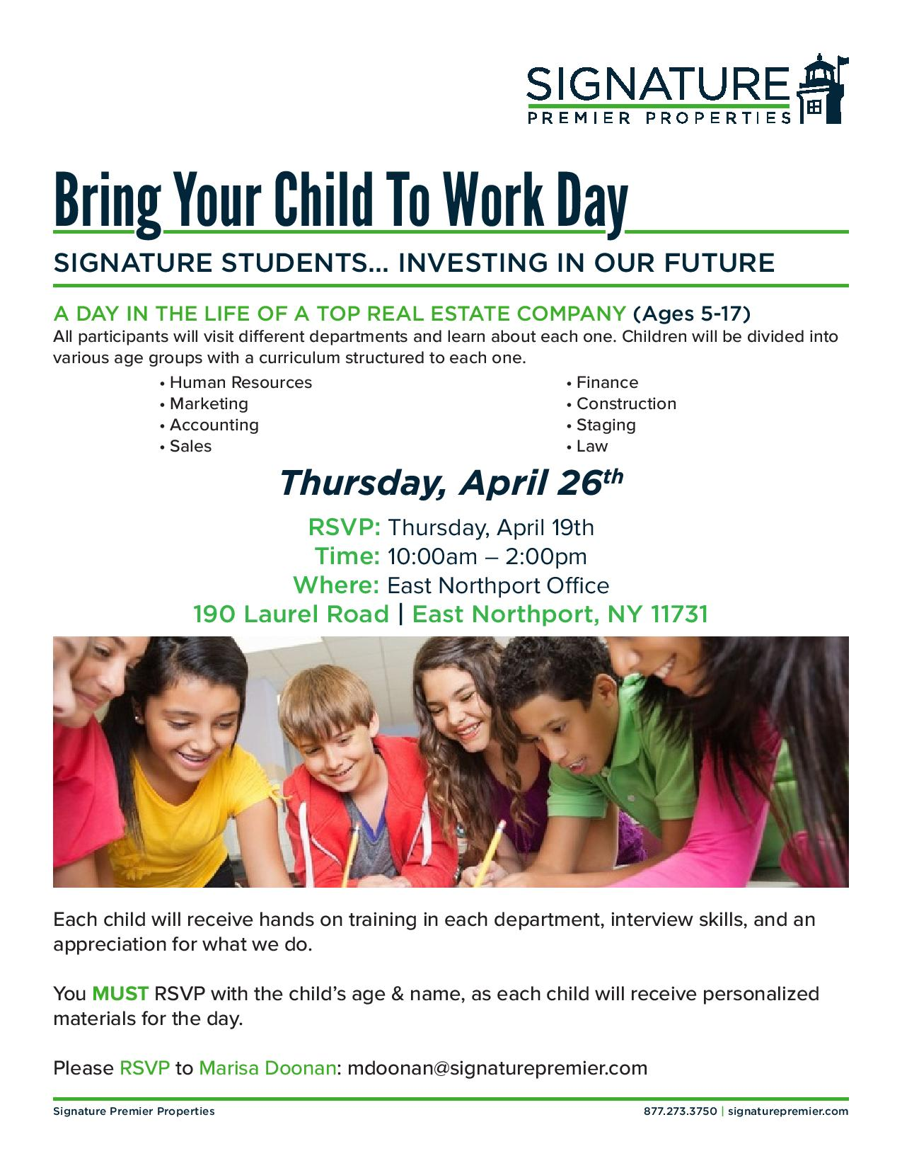 2018 Bring Your Child To Work Day | Signature Premier